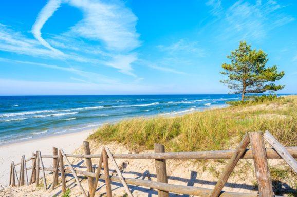 Piaszczysta plaża w Białogórze